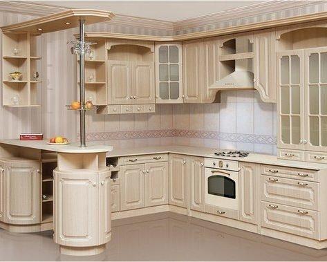 Кухня в классическом стиле с барной стойкой на заказ