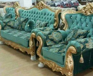 диван бирюзового цвета с золотом