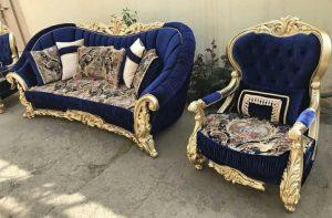 диван синий с золотым купить