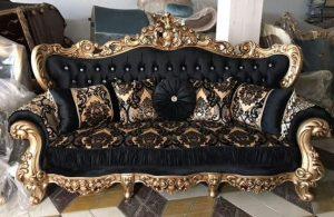 диван черный с золотом