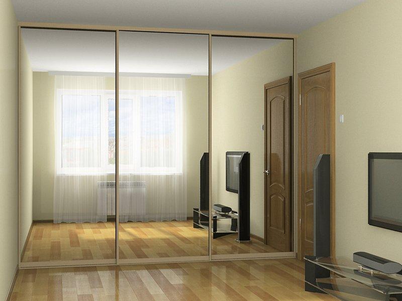Шкаф-купе во всю стену с зеркалами